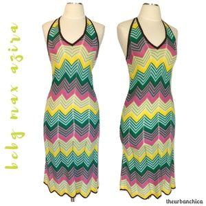BCBG Silk Blend Knit Chevron Body Con Halter Dress